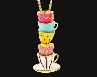 Foodie Jewelry Coffee Mug Caffeine Necklace Coffee Cup Necklace Coffee Lover Gift Coffee Gifts Coffee Drinker Gift Tea Cup Necklace