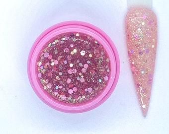 Love of my Life Glitter Nail Gel - Custom  Gel - Liquid Glitter Encapsulation Gel- Builder Gel