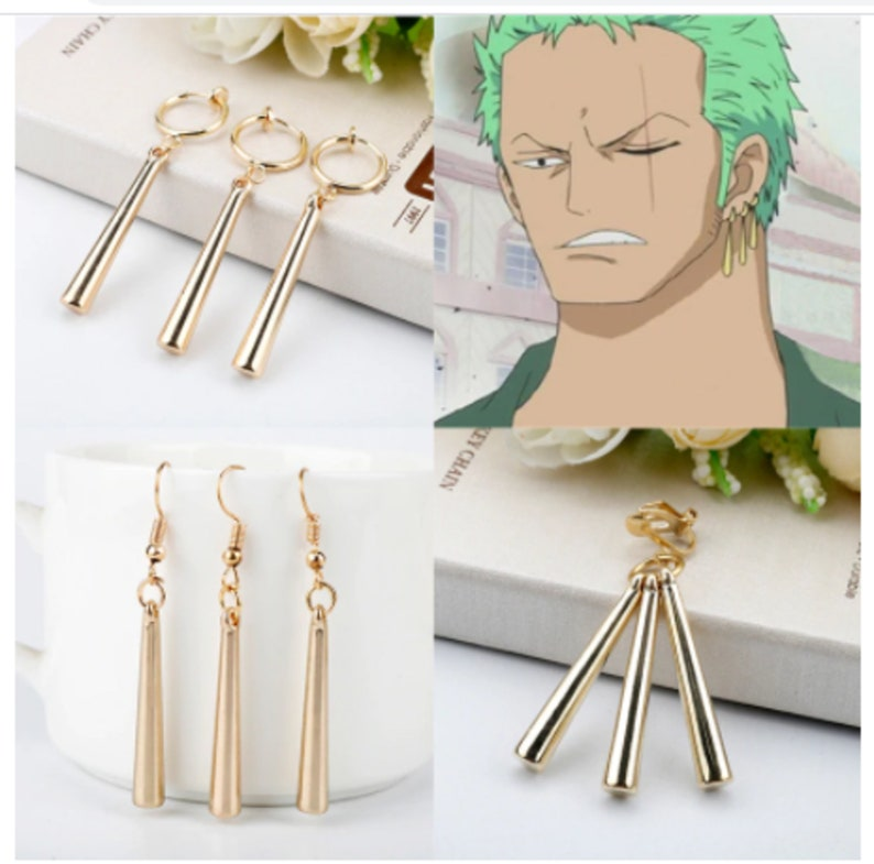 hot Anime One Piece Theme Roronoa Zoro Earrings Fashion Cartoon Jewelry Accessories Gift For Friends Fans