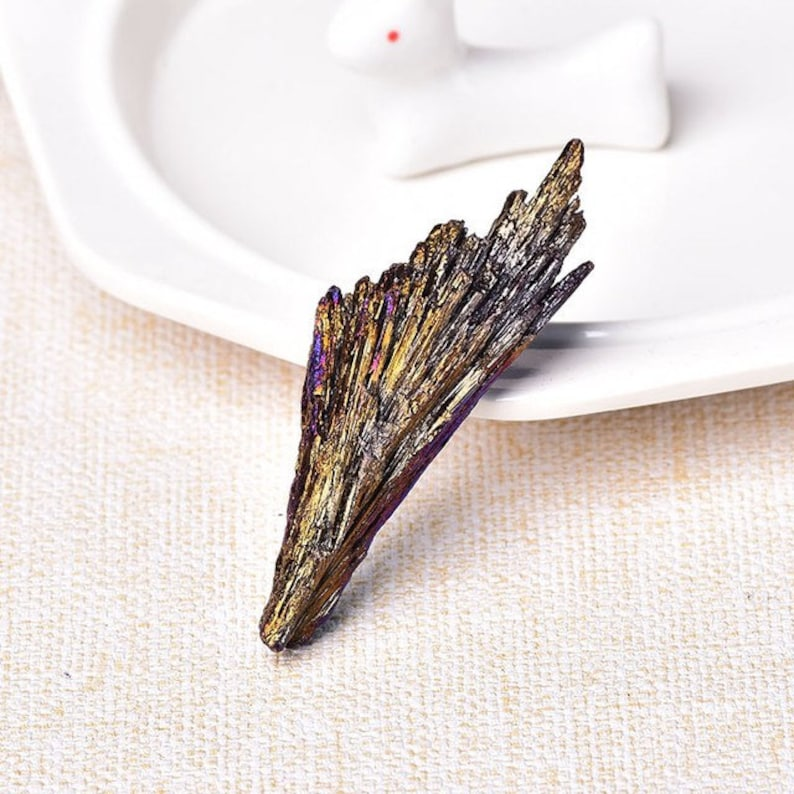 Rainbow Aura Peacock Kyanite Healing Crystal Specimen