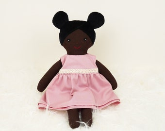 Handmade rag doll, unique birthday gift for girls, romantic nursery decoration, doll with dark skin