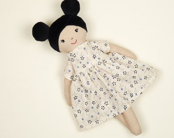 Doll with black braids, handmade dress-up doll made of fabric, doll with dress, children's room decoration doll, soft rag doll sheep's wool