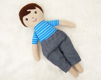 Hand-sewn rag doll for boys, children's room decoration boy, stroller doll for boys, boy doll made of organic material, sustainable toys