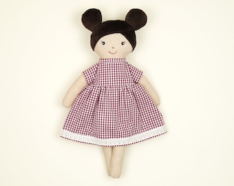 Organic cotton rag doll 33 cm with country house style dress, hand-sewn doll Olivia, romantic doll in hyggeligen style, doll with sheep's wool