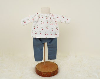 Outfit for girl doll Olivia, pants and blouse for rag doll, clothes for soft rag doll