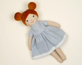 Doll's carriage rag doll for girls, rag doll with copper braids, redhead doll for toddlers, country style doll, nursery decoration