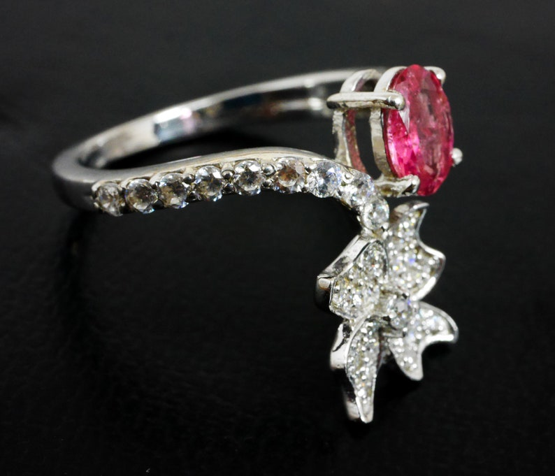 Natural Pink Tourmaline  925 Sterling Silver Ring For Wedding,Engagement