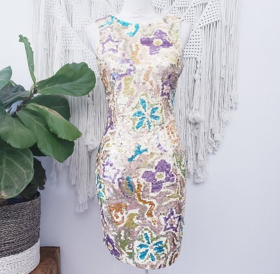 Vintage Oleg Cassini Floral Sequins Dress
