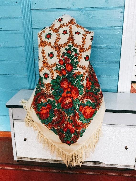 Vintage floral shawl, made in USSR, soviet floral