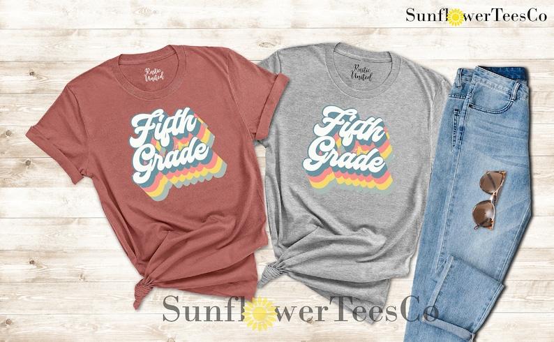 Fifth Grade Teacher Shirt Rainbow Shirt Retro Design Grade image 0