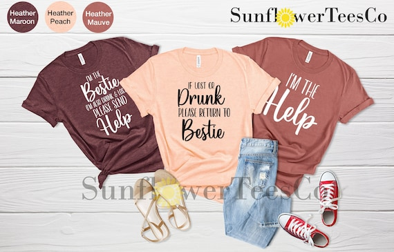 Funny Drinking t-shirts Drinking Matching Shirts Bestie Shirts Womens Drinking t-shirt If Lost or Drunk Please Return to Friend Party t-shirt
