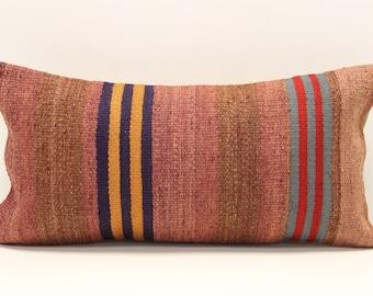 Kilim Lumbar Pillow Cover 10x20 inch 25x50 Cm  Bedding Pillow Turkish Handmade Decorative Home Design KA-5
