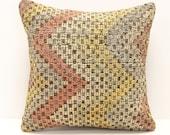Kilim Pillow Cover 16x16 inch 40x40 Cm Square pillow cover Bedding Pillow Turkish Handmade Decorative Home Design Boho Pillow KM-28