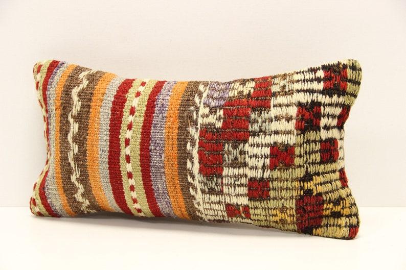 Kilim Lumbar Pillow Cover 8x16 inch 20x40 Cm  Bedding Pillow Turkish Handmade Decorative Home Design KG-14