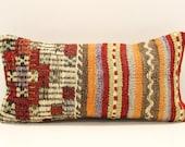 Kilim Lumbar Pillow Cover 8x16 inch 20x40 Cm Bedding Pillow Turkish Handmade Decorative Home Design KG-24