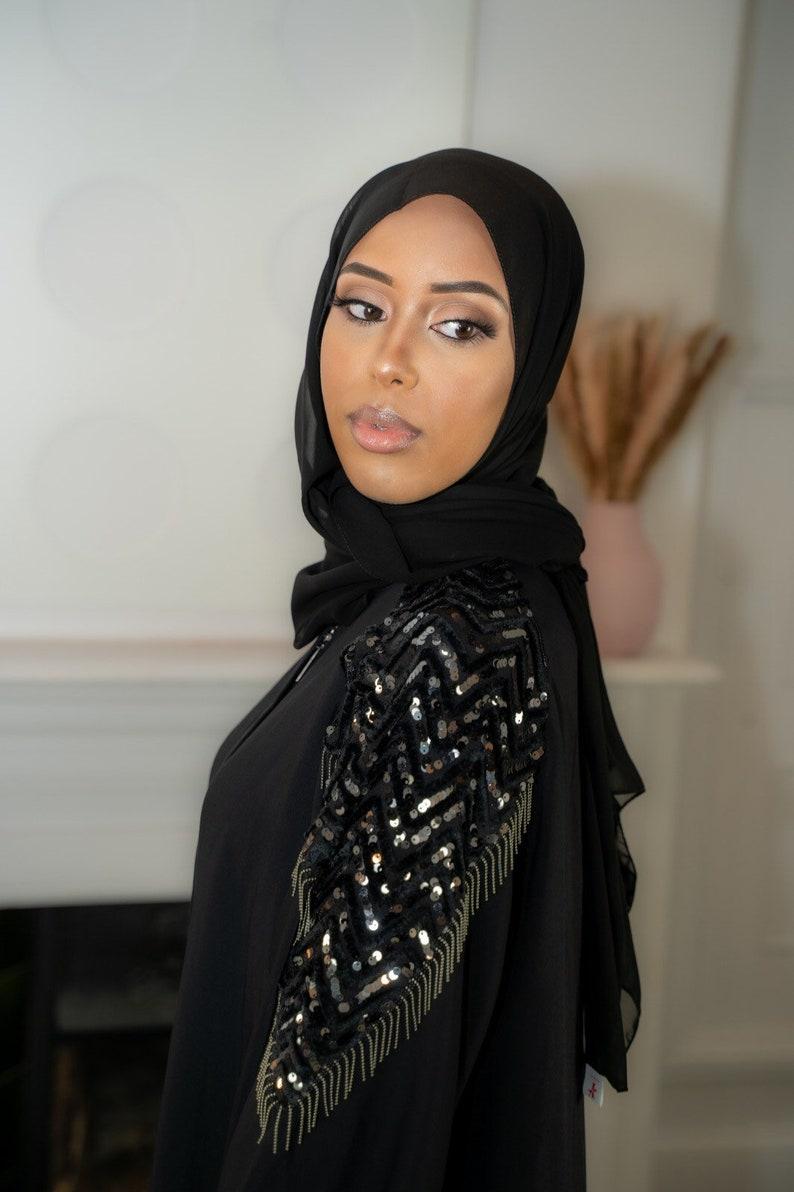 Elegant Open Black Sequin Abaya