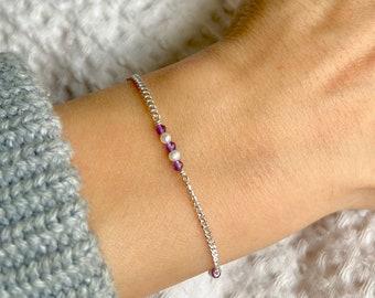 Amethyst Pearl Silver Bracelet, Sterling Silver Bracelet, Dainty Bracelet, Gemstone Bracelet, Pearl Bracelet, Amethyst Bracelet, Pearl
