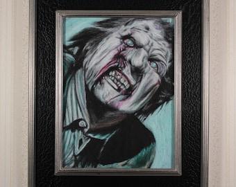 Framed Original Artwork - Cemetery Zombie - Oil Pastel, Zombie, Night of the Livind Dead, George Romero, Tom Savini, Horror Portrait