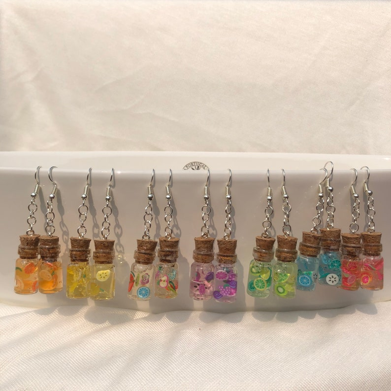 Mini Yellow Fruit Popsicle Bottle Earrings- Small and Large Versions