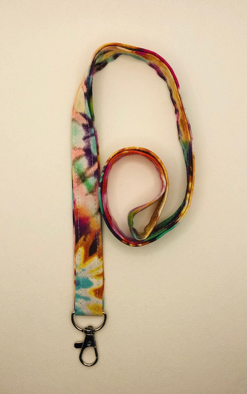 Rainbow Tie Dyed Lanyard  Key Chain  Face Mask Holder