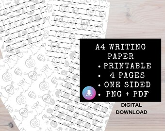 Spooky Printable Gothic Paper, Halloween Ephemera, Gothic Journaling Supplies, Blank Lined Pages, Journal Paper, Junk Journal Printable