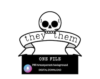 They Them Pronouns Digital Download, My Pronouns Are Sticker Download, Genderqueer Sticker PNG for cricut, Non Binary Sticker, Pride PNG