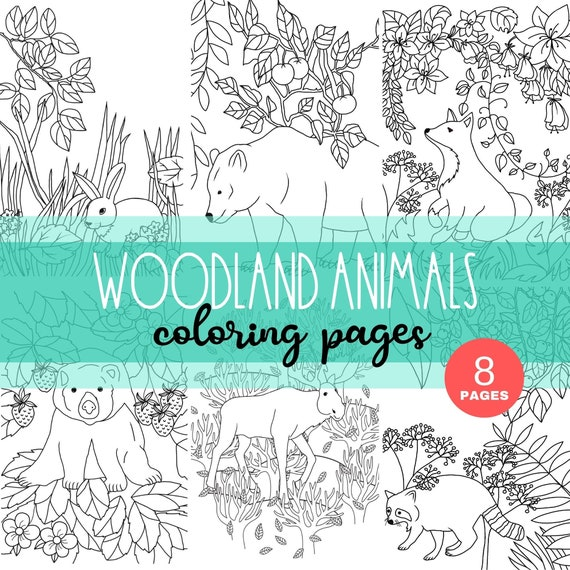 Woodland Animal Coloring Pages: Realistic Deer Raccoon