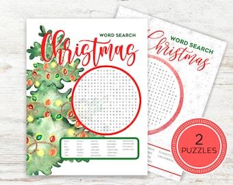 Christmas Word Search, Printable Christmas Word Games, Christmas Games for Kids, Christmas Games for Families, DIY Christmas Games