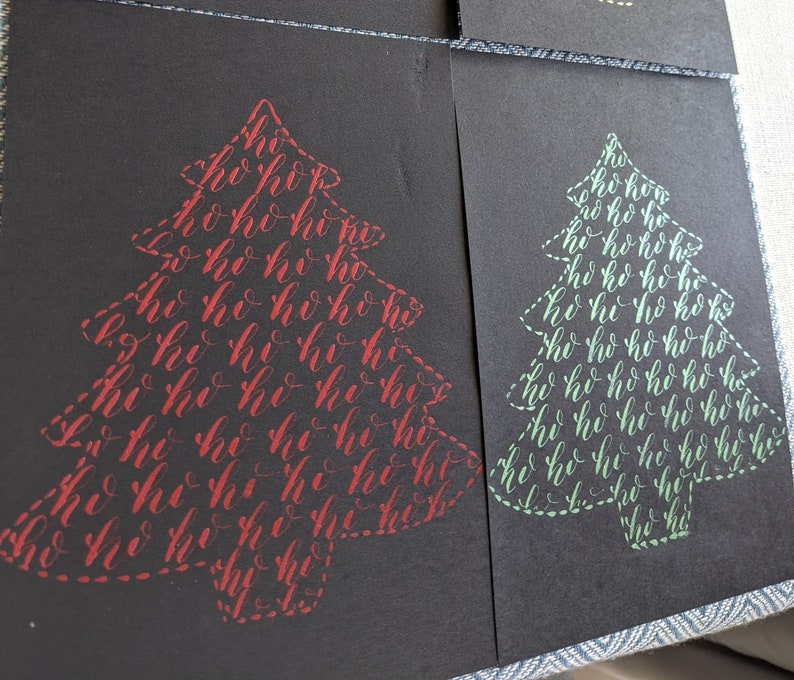 Christmas Tree Holidays Greeting Card with Calligraphy set of 4 cards red, green, gold, rose gold