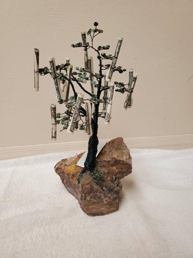 The Money Tree-Tourmaline Maple with 20 New 1 Dollar Bills on a Petrified Wood Base from Hubbard Basin NV