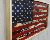 18x32 USA Pledge of Allegiance Rustic Wooden Flag
