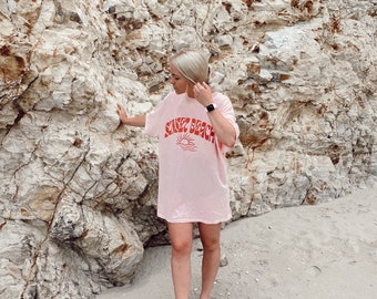 Sunset Beach Tee | screen printed design | pink shirt | unisex sizing