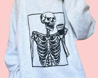 Skeleton Coffee Crewneck | screen printed design | unisex sizing | halloween