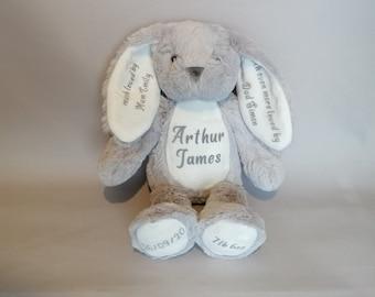 Personalised Custom Gift Grey Personalised Christening Teddy Bear