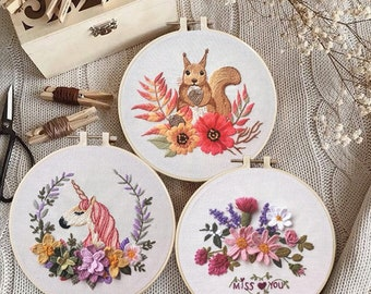 DIY Embroidery Kit For Beginner | Modern Embroidery Kit with Pattern| Flowers Embroidery Full Kit with Needlepoint Hoop| DIY Craft Kits