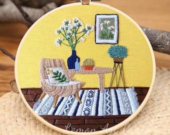 DIY Embroidery Kit For Beginner |Modern Crewel Embroidery Kit with Pattern|Embroidery Full Kit Needlepoint Hoop|DIY Craft Kit Crewel Kits