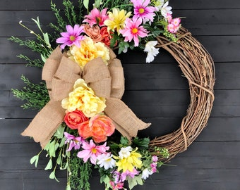 Easter Wreath Front Door Floral Decoration Artificial Purple Hydrangea Floral Wreath Valentines Gift Grapevine Wreath Yellow Gerbera Daisies