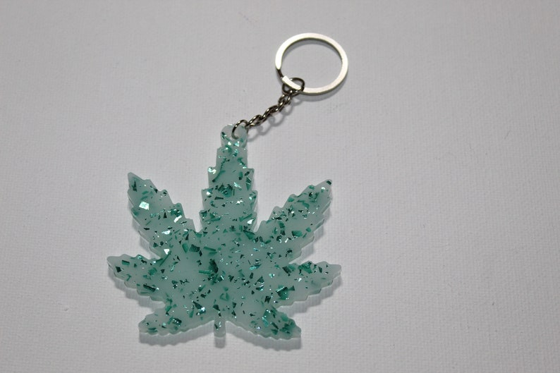 Teal Crystal Ice Kush Resin Keychain