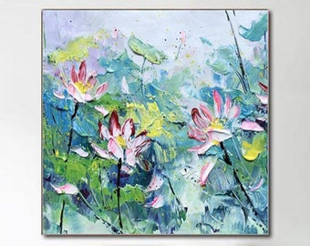 Lotus Flower Painting Abstract Pink Flower Oil Painting Original Large Canvas Art Hand Made Water Lilies Wall Art Living Room Wall Decor