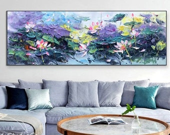 Original Oversize Canvas Wall Art Lotus Oil Painting Abstract Oil Acrylic Painting Home Decor Bedroom Decor Modern Abstract Wall Décor Pink