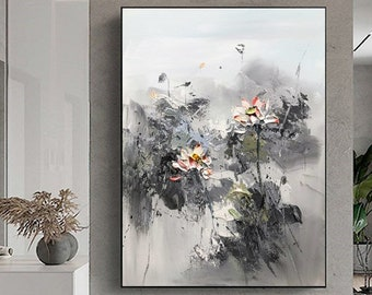 Minimalist Gray Lotus Painting,Abstract Flower Painting On Canvas,Black Abstract Oil Painting,White Painting,Large Landscape Modern Art,Sky