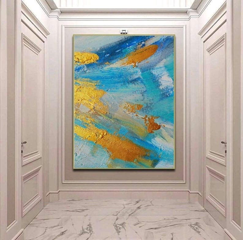 Large Abstract Golden Oil Painting Abstract Canvas Blue White Colors Extra  Wall Art Modern Gold Leaf Vibrant Canvas Wall Art Home D\u00e9cor