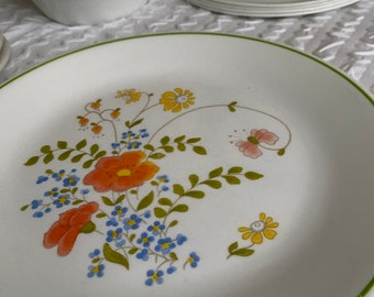 CORNING Corelle Wildflower Design Flowers with Green Rim Plates Bowls