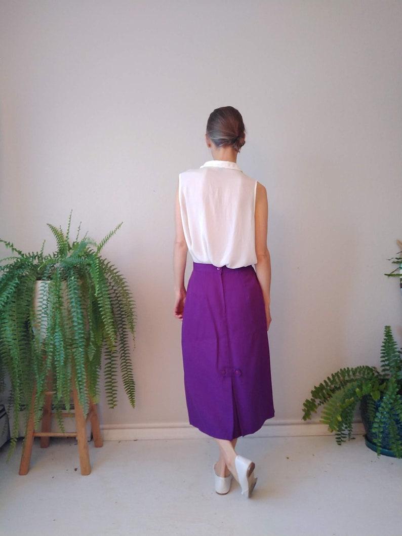 Vintage 1980s Worthington Long Purple Pencil Skirt Size Small