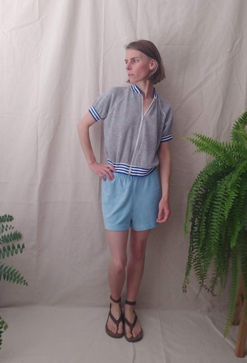 Unisex Size Small Medium Vintage 70s Light Blue Terry Cloth Shorts