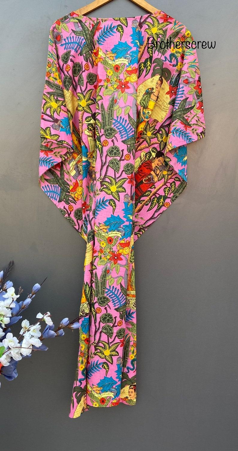 flowers print Long Caftan Cover UP Farida khalo print Kimono Resort Wear pink colour Women/'s Kaftan Dress Caftan Maxi Dress Maxi Dress