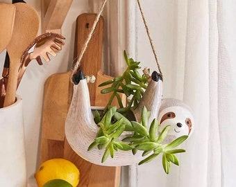 Hanging Ceramic Sloth Planter Pot Grey Beige Natural Home Decor