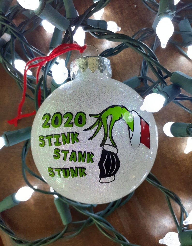 Christmas decor Christmas tree ornament 2020 Christmas ornament glitter ornament The Grinch inspired Grinch inspired Christmas gift
