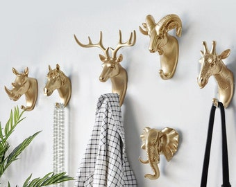 Creative Gold Animal Wall Hooks Handmade Coat Hangers Racks Hooks Stylish Wall Bag Hook Bathroom Towel Gift Hook Hardware Modern Wall Hooks