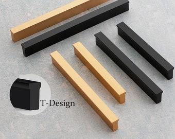 Simple T Handles Gold Drawer Pulls Black Kitchen Cabinet Handles Modern Wardrobe Handle Knob Pull  40 64 96 128 160 192  256 mm